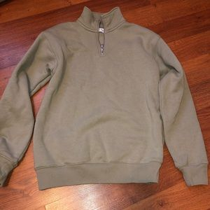 TNA 3/4 Zip Olive Sweater